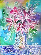 Table Cloth Mixed Media Metal Prints - Floral Metal Print by M C Sturman
