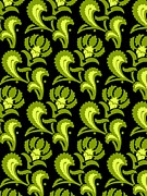 Green Color Art - Floral Pattern In Green And Blue by Lana Sundman