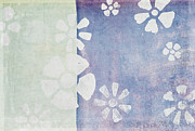 Texture Flower Pastels Prints - Floral Pattern On Old Grunge Wall Print by Setsiri Silapasuwanchai