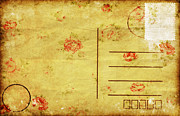 Floral Pattern On Old Postcard Print by Setsiri Silapasuwanchai