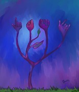 Sign Language Digital Art Prints - Floral signs Print by Hector Ortiz
