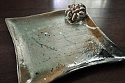 Signed Ceramics Originals - Floral Square Plate by Amanda  Sanford