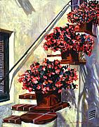 Santa Barbara Paintings - Floral Staircase by David Lloyd Glover