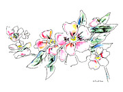 Roses Prints - Floral Watercolor Drawings 5 Print by Gordon Punt