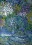 Impressionist Mixed Media - Floral with Cracked Vase by Anne-Elizabeth Whiteway