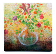 Sphere Paintings - Floral with Eastern Tapestry by Lynda McLaughlin