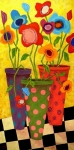 Modern Folk Art Paintings - Floralicious by John Blake