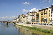 City Scape Metal Prints - Florence Arno river and houses Metal Print by Matthias Hauser