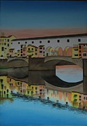 Judge Painting Framed Prints - Florence bridge reflection Framed Print by Carolyn Judge