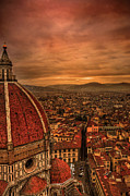 Crowded Posters - Florence Duomo At Sunset Poster by McDonald P. Mirabile