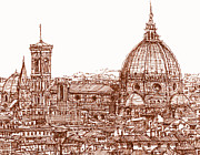 Buildings Drawings Prints - Florence Duomo in red Print by Lee-Ann Adendorff