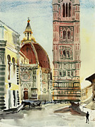 Travel Destinations Paintings - Florence Duomo by Natalia Sinelnik