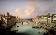 Arno Framed Prints - Florence from the Ponte Vecchio Framed Print by Giovanni Signorini