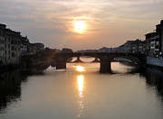 Gregory Dyer Posters - Florence Italy - Beautiful Arno Sunset Poster by Gregory Dyer