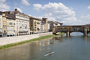 Rower Prints - Florence Italy Arno River Ponte Veccio bridge Print by Matthias Hauser