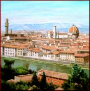 Tuscan Sunset Paintings - Florence by Massimo Dilecce
