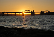 Florence Oregon - Art Deco Bridge At Sunset Print by Gregory Dyer