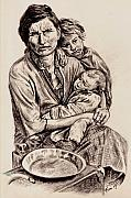 Florence Drawings Prints - Florence Owens with Children Print by Toon De Zwart