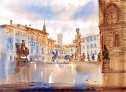 Florence Painting Framed Prints - Florence Framed Print by Svetlana and Sabir Gadghievs