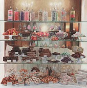 Italian Kitchen Posters - Florence Sweety Shop Poster by Helen Parsley