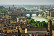 Exterior Framed Prints - Florence. View Of Ponte Vecchio Over River Arno. Framed Print by Norberto Cuenca