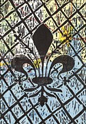 Linocut Mixed Media Posters - Florentine Fleur Gulfport Mobile Poster by Julia Forsyth