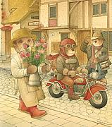 Bicycle Drawings - Florentius the Gardener06 by Kestutis Kasparavicius