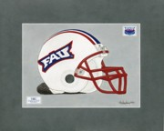 Football Paintings - Florida Atlantic Football Helmet by Herb Strobino