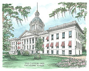 Munroe Drawings Metal Prints - Florida Capitol 1902 Metal Print by Audrey Peaty