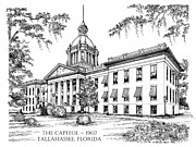 Fsu Posters - Florida Capitol 1902 Ink Poster by Audrey Peaty