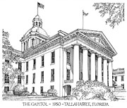Florida Capitol 1950 Print by Audrey Peaty