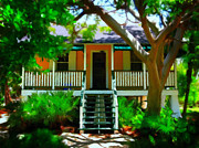 Paint Photograph Prints - Florida Cottage Print by Perry Webster