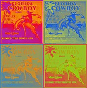 Grapefruit Digital Art Posters - Florida Cowboy Crate Label Poster by Dwayne  Graham