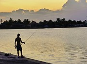 Photorealism Photo Prints - Florida Fishing At Sunset Print by Florene Welebny
