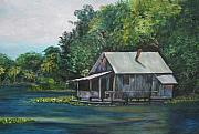 Fishing Shack Paintings - Florida Fishing Shack by Lessandra Grimley
