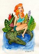Florida Girl And Her Gator Print by Heather Torres