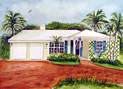 Florida House Paintings - Florida house by Clara Sue Beym