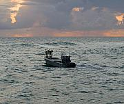 Lobstermen Posters - Florida lobstermen at dawn Poster by Allan  Hughes