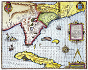 Jacques Framed Prints - Florida: Map, 1591 Framed Print by Granger