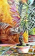 Yellow Leaves Drawings Prints - Florida Palm Tree Print by Mindy Newman