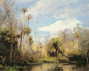 Hudson River School Painting Framed Prints - Florida Palms Framed Print by Herman Herzog