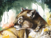 Threat Mixed Media Posters - Florida panther 2 Poster by Anthony Burks