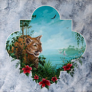 Tropical Paintings - Florida Panther Window by Keith Stillwagon