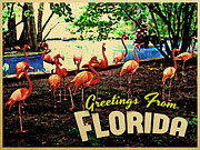 Pink Flamingo Framed Prints - Florida Pink Flamingos Framed Print by Vintage Poster Designs