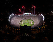 Fsu Posters - Florida State Fireworks Over Doak Campbell Stadium Aerial View Poster by Replay Photos