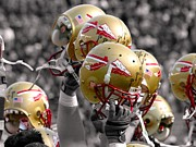 Football Helmets Posters - Florida State Football Helmets Poster by Mike Olivella