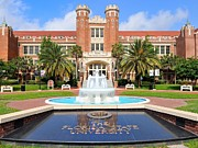 Tallahassee Prints - Florida State Fountain at the Westcott Building Print by Larry Novey