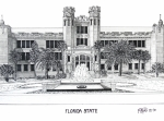 College Buildings Drawings Mixed Media Originals - Florida State by Frederic Kohli