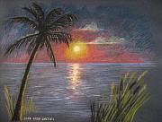 Sunset Seascape Pastels Posters - Florida Sunset Poster by Larry Whitler