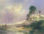 Marsh Scene Paintings - Florida by Thomas Moran
